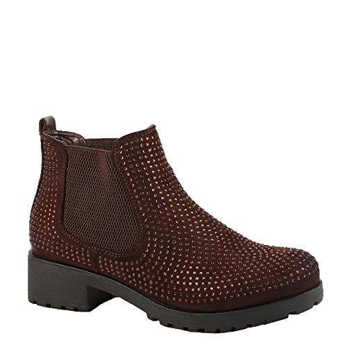 Ideal Shoes - Bottines style Chelsea bi-matière ornées de strass Redoni Marron