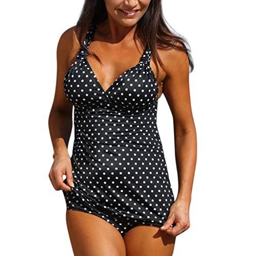 SHE.White Damen Hals hängen Dots Gedruckt Kostüm Gepolstert Badeanzug Monokini Hochdrücken Bikini Sets Badebekleidung Tiefer V-Ausschnitt ()
