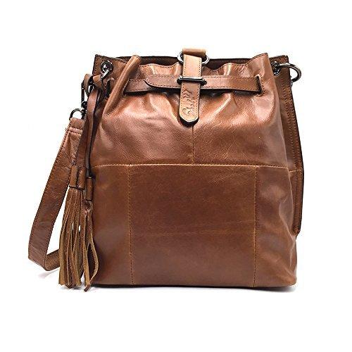 Sheli Jahrgang Braun Einzigartiges Entwurf Leder Fransen Hobo Umhängetaschen Geldbörse Handtasche Handtaschen für Damen (Cabrio Cross-body-tasche)