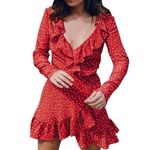 VENMO Frauen Sommer V-Ausschnitt Minikleid Beach Party Dress Sommerkleid Vintage Kleider Boho Maxikleid Mode Strandkleid Streifen Schulterfrei Rundhals High Waist Partykleid Sundress (Red, S) (Jersey V-ausschnitt Mantel)
