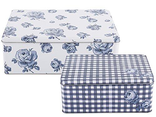Katie Alice «Vintage indigo», cajas de metal, azul, 2piezas