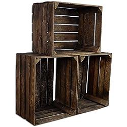 3 Set CHICCIE Vintage Caja de madera - viejo Caja de fruta - Caja de vino - Natural Look Usado - Quemado