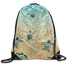 7c763abf902f9 uykjuykj Drawstring Backpack Kids Adults Waterproof Bag for Gym Traveling  Turtles On The Beach Lightweight Unique