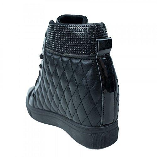 Primtex Baskets Compensées Noir Matelassée Femme Simili avec Strass Noirs- Noir