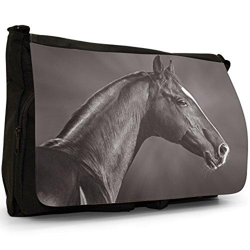 Cavallo Stallion , colore: nero, resistente, colore: nero, Borsa Messenger-Borsa a tracolla in tela, borsa per Laptop, scuola Black & White Arabian Stallion