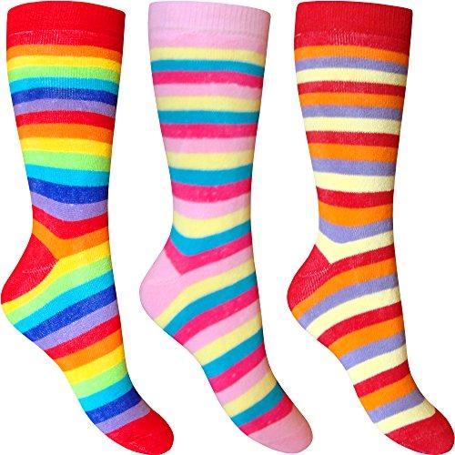 Damen Hot Zehen gestreifte Rainbow Chunky Gepolsterte Thermo Socken (3Paar) (Snow Pants Hot Pink)