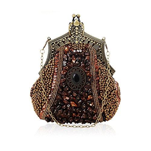 DMMW Clutch Abendtasche Arbeiten Sie Retro- große Kapazitäts-Perlen-Partei-Handtaschen-Abend-Handtasche für Frauen um für Hochzeiten Prom (Color : Coffee) -