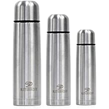 Premium Quality Stainless Steel Flask Vacuum Insulated Water Drinks Bottle - 300ml 380ml 500ml 750ml - Perfect Sports & Everyday Water Bottle, Vacuum Flask Bottle (350ml flask, silver)