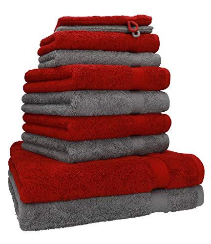 Betz 10-TLG. Handtuch-Set Premium 100% Baumwolle 2 Duschtücher 4 Handtücher 2 Gästetücher 2 Waschhandschuhe Farbe Dunkel Rot & Anthrazit Grau