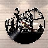 Orologio da parete per pallavolo giocatore di pallavolo sulla spiaggia disco in vinile orologio da parete sport di squadra murale decorazione della casa regalo orologio retrò
