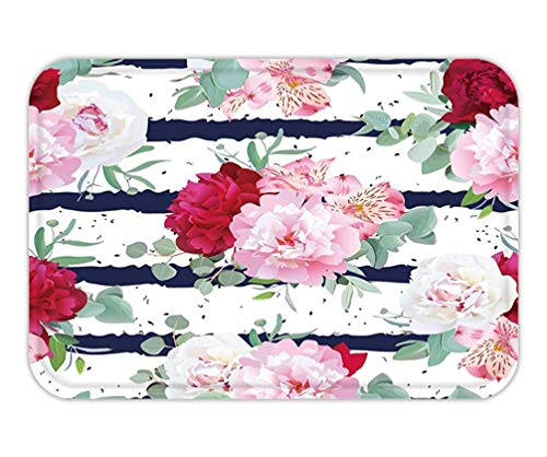 Trsdshorts Doormat Navy Blue Striped floral Seamless Vector Print with Peony alstroemeria Lily Mint Eucalyptus on -