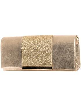 Gadzo® Abendtasche clutch glitzer Umhängetasche metallic Look CLUMG