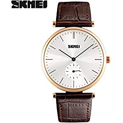 Good Quality leather strap watch quartz movement watch is 30 meters waterproof wristwatch zinc alloy environmentally friendly non-toxic vacuum plating Case(Brown strap-Gold shell)