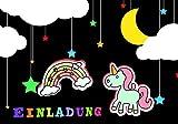 Einhorn Einladungskarten für Kindergeburtstag im Set 10 Stück mit Regenbogen Kinder-Geburtstags-Party für Mädchen und Jungen.