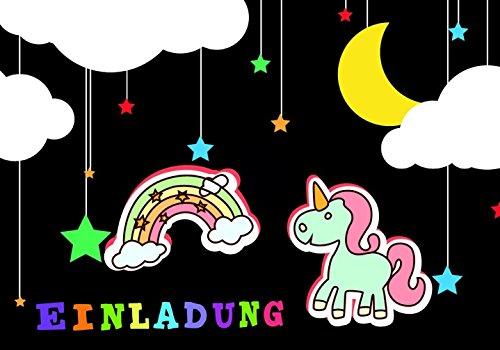Einhorn Einladungskarten für Kindergeburtstag im Set 10 Stück mit Regenbogen Kinder-Geburtstags-Party für Mädchen und Jungen. (Party-einladungen Geburtstag Minion)