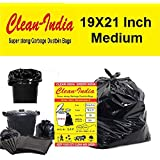 Clean India™ - Garbage Bags| Medium:19 Inch X 21 Inch | 4 Packs of 30 Pcs - 120 Pcs | Disposable Garbage Trash Waste Dustbin Covers & Bags - Black