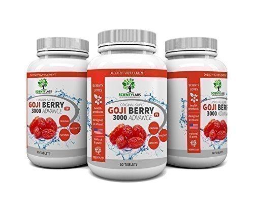 Preisvergleich Produktbild DEALPACK! - 3x Super Goji Berry 3000 daily. Das US Original von ScientyLabs mit 5:1 Goji Beeren Extrakt,  bekannt aus dem TV.