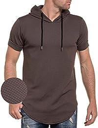 Celebry tees - Tee-shirt marron oversize maille à damier et capuche
