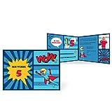 greetinks 5 x Einladungskarten Kindergeburtstag 'Comic Held' in Blau | Personalisierte Geburtstagskarten zum selbst Gestalten | 5 Stück Einladungen Kinder Geburtstag - Jungen & Mädchen