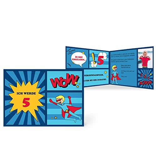 greetinks 40 x Einladungskarten Kindergeburtstag 'Comic Held' in Blau | Personalisierte Geburtstagskarten zum selbst gestalten | 40 Stück Einladungen Kinder Geburtstag - Jungen & Mädchen (Kinder-geburtstag Personalisierte Einladungen)