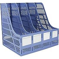 Se y es resistente plástico marcos cuadruplicado de escritorio revista titulares documento pantalla divisores Gabinete Rack de almacenamiento caja organizadora, color azul 32.5*25.5*27.5