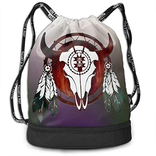 ewtretr Turnbeutel Hipster Sporttaschen Native American Buffalo Skull Arrowhead Indian Drawstring Backpack Bag -