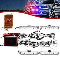4×4 ليد 4 في 1 من كاي دينغ زهي ضوء شبكي معلق على السطح تيار مستمر 12 فولت لاسلكي وامض في حالات الطوارئ ومصباح سيارة إسعاف والشرطة وضوء خارجي تحذير لشاحنة مقطورة كارفان فان (أحمر أزرق)
