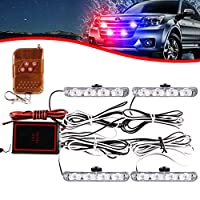 KaiDengZhe 4x4 LED 4 in 1 Surface Mount Grill Light DC12V Wireless Remote Emergency Flashing Beacon Lamp Ambulance Police Light Strobe Warning External Light For Truck Trailer Caravan Van (Red Blue)