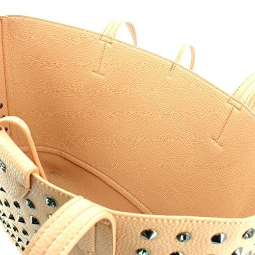 Borsa PATRIZIA PEPE shopping con borchie e pietre maxi pochette interna con manico larg. 30,5 alt. 27 p12,5 Ecopelle grigio butterfly rose