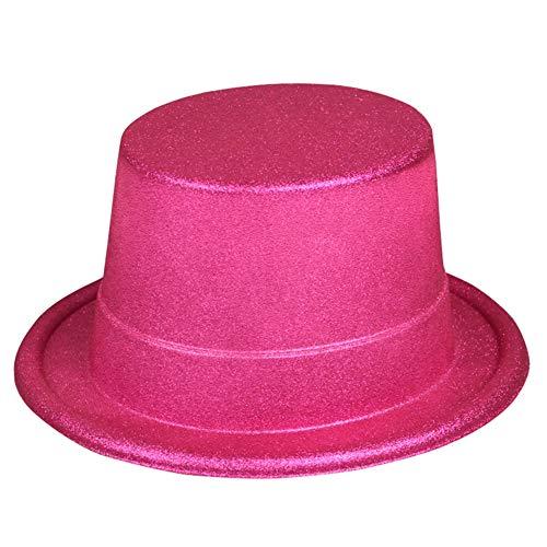 Cowgirl Teen Kostüm - FXXUK Glitzer Kostüm Hut Bunter Plastik Zylinder Unisex Kopfbedeckung Zubehör für Halloween Kostüme Bühnenshow Tanzshow,Rosa,12PCS