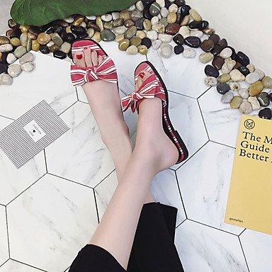 RTRY Donna Zoccoli & Ciabatte Sandali Comfort Pu Primavera Estate Autunno Casual Tacco Basso Nero Rosso Sotto 1In US8 / EU39 / UK6 / CN39