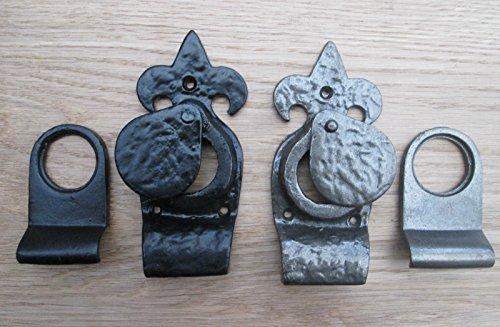 Ironmongery World® Fleur de Lys Gothic Zylinder Pull für Yale Typ Tür Schlösser öffnen und verdeckt Schlüsselloch Bezug (Uni Schwarz) (Schlüsselloch Öffnen)