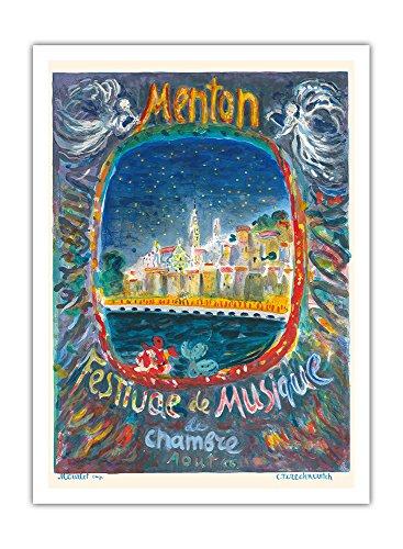 Pacifica Island Art Menton, Frankreich - Kammermusik -Festival - Vintage Retro Welt Reise Plakat Poster von Constantin Terechkovitch c.1966 - Premium 290gsm Giclée Kunstdruck - 30.5cm x 41cm