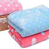 Micat® Super Soft Thick Plush Teddy Puppy Dog Cat Pet Bed Mat Blankets Cushion (L: 96*70cm, 002: Blue Dot)
