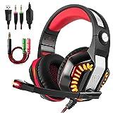 Beexcellent gm-2Gaming Headset mit Mikrofon LED Gaming Kopfhörer für PS4/xones/PC/Laptop mit Einem gratis Y Splitter