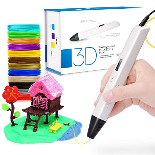 DigiHero 3D Pen with OLCD screen, 3D Printing pen with 1.75mm PLA filament Pack of 12, Each color 10 Feet, 3D Print Pen is for Kids, Adults ¡­
