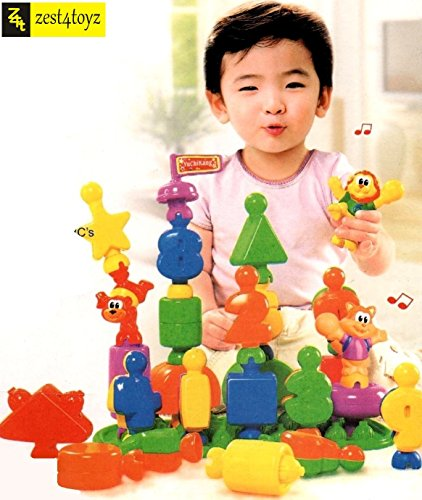 Zest 4 toyz - Finest Quality English Learning Blocks for Kids with Cartoon Figures, Super Solid Material + 100% Non Toxic + Bag Packing, Best Gift, Toy.