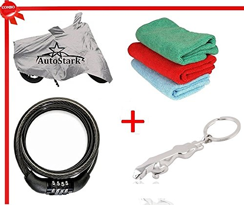 AutoStark Bike Body Cover Silver+ Helmet lock+ Microfiber Cleaning Cloth+ Jaguar shaped keychain For TVS Apache RTR 180  available at amazon for Rs.495