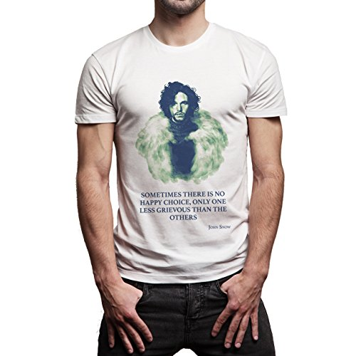 Game Of Thrones Jon Snow Quote Sometimes There Is No Happy Choice, Only One Less Grievous Than The Others Herren T-Shirt Weiß