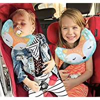 brunoko Kids Travel Pillow - Child Safety Car Seat Head Support - Baby Neck Support Pillow - Pram & Car Travel Accessories 2 in 1 for Toddler - Seatbelt Pillows for Kids - Designed in Spain