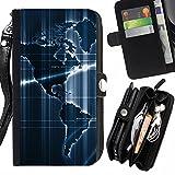 Graphic4You America World Sensor Map Geography Design Zipper Brieftasche mit Strap Hülle Tasche Schale Schutzhülle für Samsung Galaxy J5 (2016)
