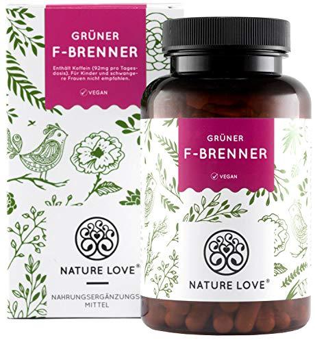 NATURE LOVE® Grüner F-Brenner mit grünem Kaffeeextrakt, Guarana & grünem Tee. 120 Kapseln. Laborgeprüft und ohne Magnesiumstearat. Hochdosiert, vegan & hergestellt in Deutschland