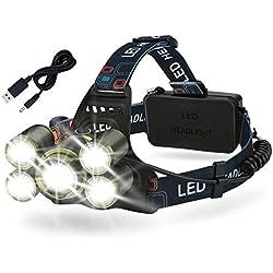 Linterna Frontal LED Cabeza USB Recargable, 500M Foco Ajustable Impermeable 8000LM 4 Modos de Luz Frontal Lampára, 2* 18650 Baterías dura 6H Para Camping, Pesca, Ciclismo, Carrera, Caza etc.