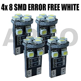 4x ERROR FREE CANBUS 501 8 SMD LED SIDELIGHT INTERIOR NUMBER LICENCE PLATE FRONT CORNERING HEADLIGHT BULBS WHITE XENON T10 W5W 194 WEDGE (B00JUZ42R8) | Amazon price tracker / tracking, Amazon price history charts, Amazon price watches, Amazon price drop alerts