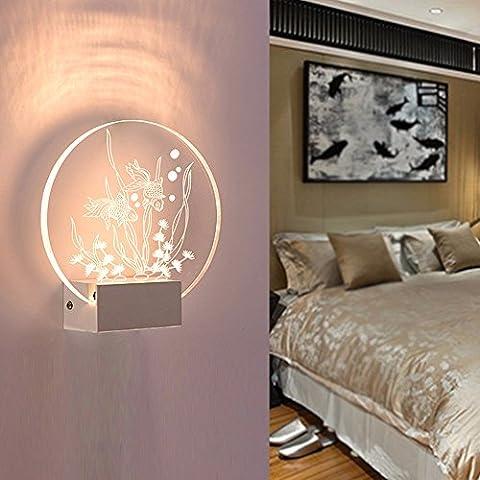 XHOPOS HOME Wandleuchten LED Nachttischlampe Schlafzimmer modernes innovatives Flure Treppen Wohnzimmer Goldfisch warmes Licht 24x23cm