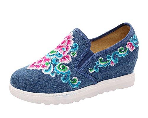 Icegrey Scarpe Donna Ballerine Ricamato A Mano Fiore Pantofola Cuneo Scarpe Wedges Sneaker Basse Blu