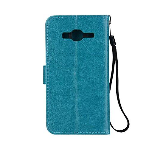 Solid Color Crazy Horse Texture Pattern Faux Leder Brieftasche Case Cover mit Lanyard & Kickstand & Card Slots & Foto Frame für Samsung Galaxy J3 2016 ( Color : Darkblue ) Blue