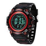 Reloj Electronico Sport-Armbanduhr, digital, multifunktional, Militäruhr, Höhenmesser, Kompass und Höhenmesser, für Männer Rot
