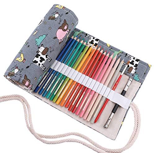 Abaría - Bolso de lapices bolsa de almacenamiento hecho de mano estuche enrollable lápices de lona, elefante azul 36 agujeros