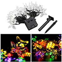 LEDMOMO 20 LEDs Solar String Lights LED Butterfly Fairy Light Outdoor Waterproof 4.5m (Multicolour Light)